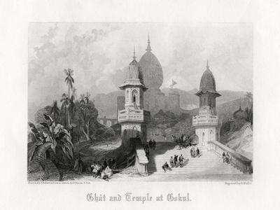 Ghat and Temple at Gokul, India, C1838
