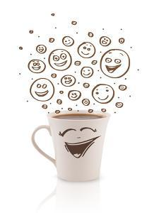 Coffee-Cup With Brown Hand Drawn Happy Smiley Faces, Isolated On White by ra2studio