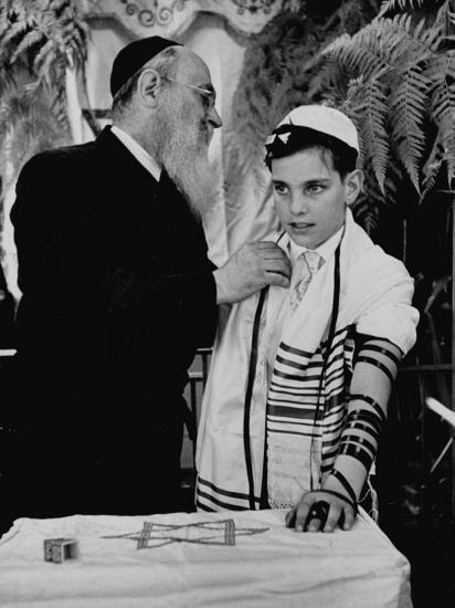 Rabbi David S. Novoseller Adjusting Carl Jay Bodek's Robe During Ceremony-Lisa Larsen-Photographic Print