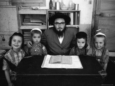Rabbi Posing with His Young Students Who Are Learning to Read Hebrew at This Orthodox School-Paul Schutzer-Photographic Print