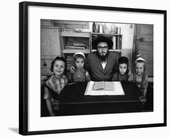 Rabbi Posing with His Young Students Who Are Learning to Read Hebrew at This Orthodox School-Paul Schutzer-Framed Photographic Print