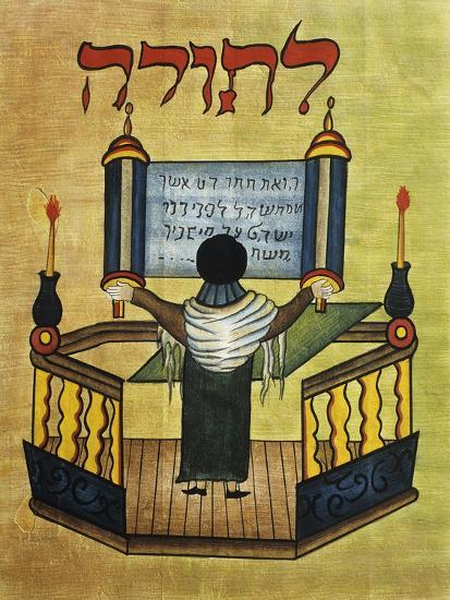 Rabbi Reading Torah, 17th Century Miniature, Jewish Art Giclee Print by |  Art com