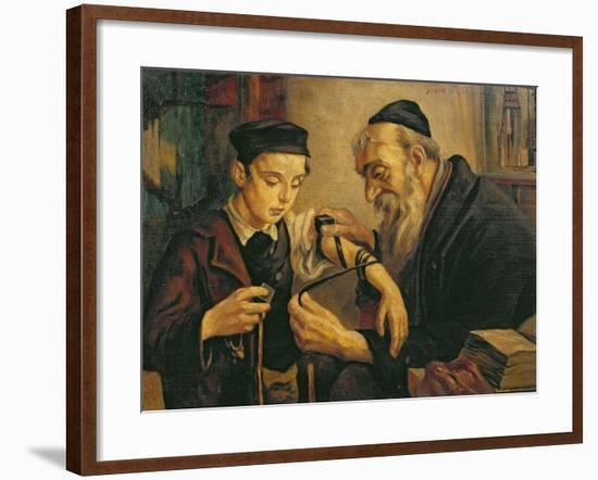Rabbi Tying the Phylacteries to the Arm of a Boy--Framed Giclee Print