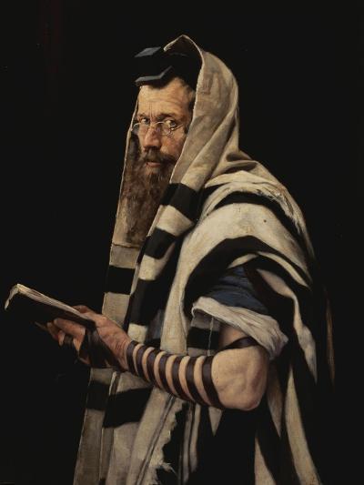 Rabbi with Tefillin-Jan Styka-Giclee Print