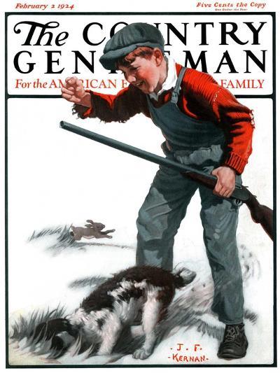 """Rabbit Hunting,"" Country Gentleman Cover, February 2, 1924-J^F^ Kernan-Giclee Print"