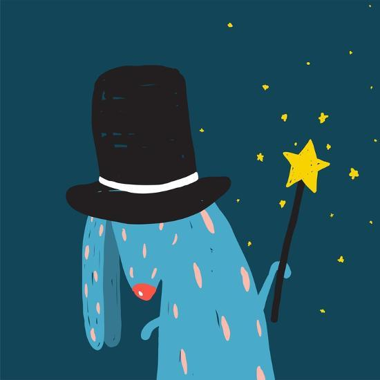 Rabbit in Black Hat Doing Tricks with Magic Wand. Colorful Dark Magical Illustration for Kids Greet-Popmarleo-Art Print