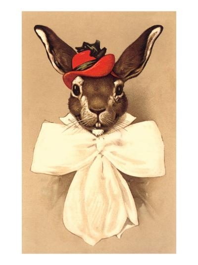 Rabbit in Bow and Hat--Art Print