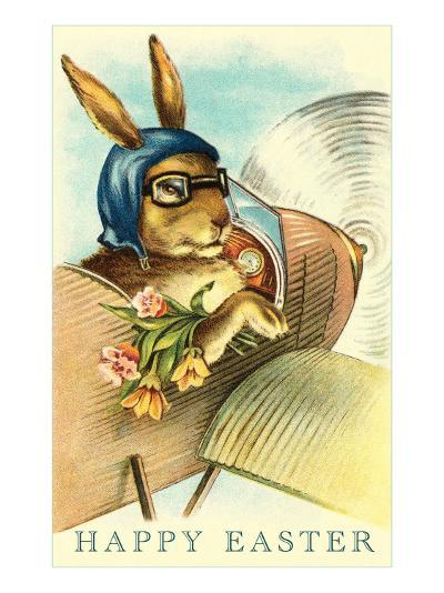 Rabbit in Goggles and Vintage Airplane--Art Print