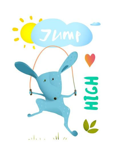 Rabbit Jumping Rope for Kids. Hare Jumping High Skipping Animal Cartoon Watercolor Style, Vector Il-Popmarleo-Art Print