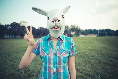Rabbit Mask Absurd Beautiful Young Hipster Woman-Eugenio Marongiu-Photographic Print
