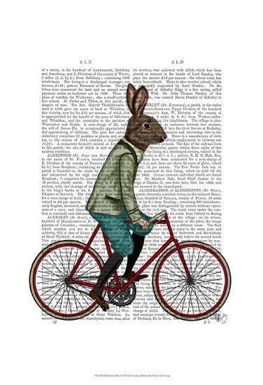 Rabbit On Bike-Fab Funky-Art Print