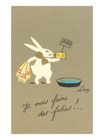 Rabbit Preparing to Bathe--Art Print