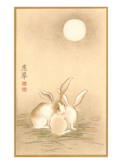 Rabbits and the Moon--Art Print