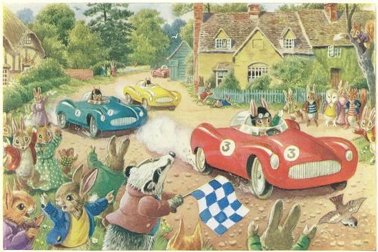 Rabbits in Race Cars--Art Print