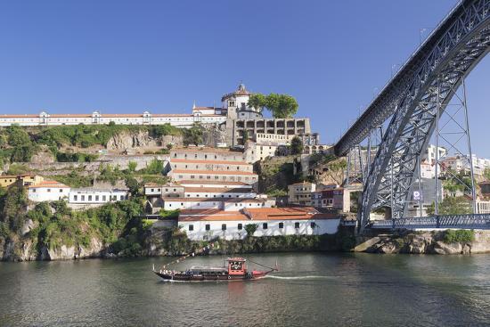 Rabelos boat on Douro River, Serra do Pilar Monstery, Ponte Dom Luis I Bridge, UNESCO World Heritag-Markus Lange-Photographic Print