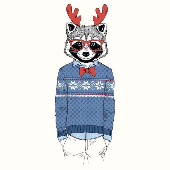 Raccoon Dressed up in Jacquard Pullover-Olga_Angelloz-Art Print
