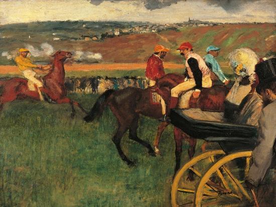 Racecourse, Amateur Jockeys Near a Carriage-Edgar Degas-Art Print