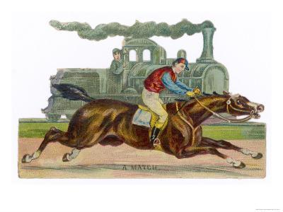 Racehorse Competes with a Steam Engine--Giclee Print