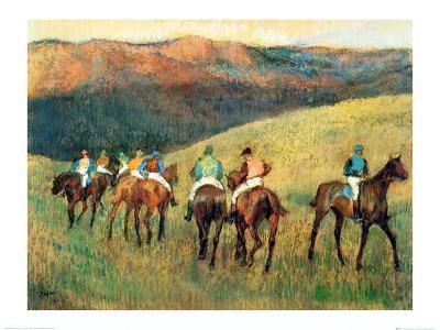 Racehorses in a Landscape-Edgar Degas-Art Print