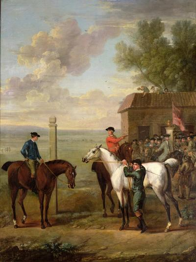 Racehorses with Jockeys Up by the Rubbing Down House on Newmarket Heath-John Wootton-Giclee Print