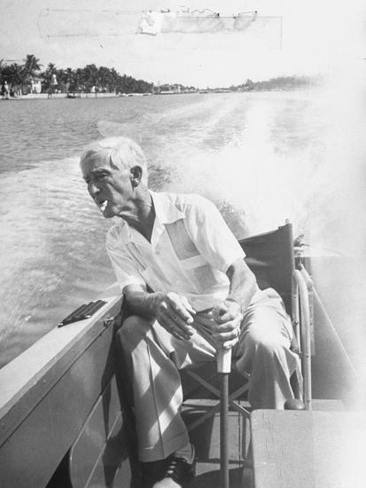 Racer Gar Wood Steering the 188-Foot Long Catamaran Racing Boat Which He Designed--Photographic Print