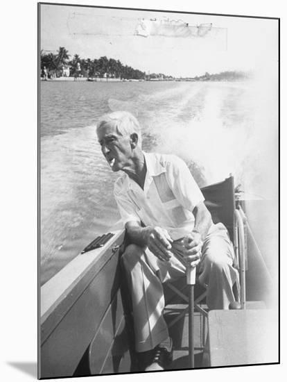 Racer Gar Wood Steering the 188-Foot Long Catamaran Racing Boat Which He Designed--Mounted Photographic Print