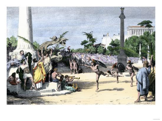 Racers Cheered at the Finish Line in the Olympic Games, Ancient Greece--Giclee Print