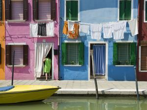 Boats and Colourful Houses Along Canal by Rachel Lewis