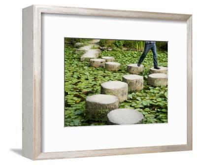 Man Crossing Stepping Stones across Soryu-Ike Pond in Naka Shin'En Garden