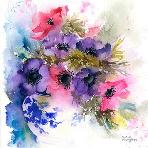 Anemones In Blue And White Vase by Rachel McNaughton