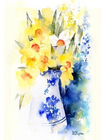 Daffs In Blue And White Vase