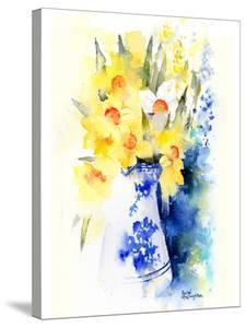 Daffs In Blue And White Vase by Rachel McNaughton