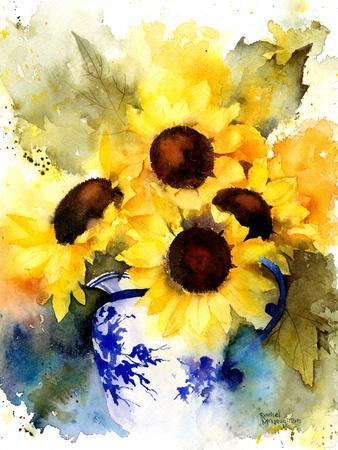 Sunflowers In Blue And White Vase