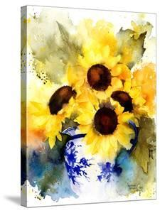Sunflowers In Blue And White Vase by Rachel McNaughton