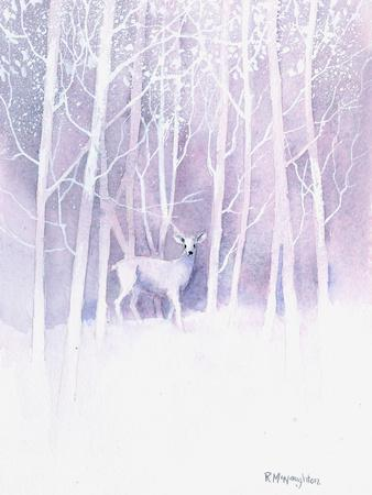 White Deer Frosty Forest