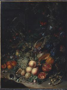 Peaches, Grapes, Pomegranates, Melons, a Corncob, Apricots, Plums, Pears, Acorns, 1718 by Rachel Ruysch