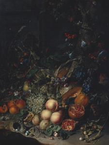 Peaches, Grapes, Pomegranates, Melons, a Corncob, Apricots, Plums, Pears, Acorns by Rachel Ruysch