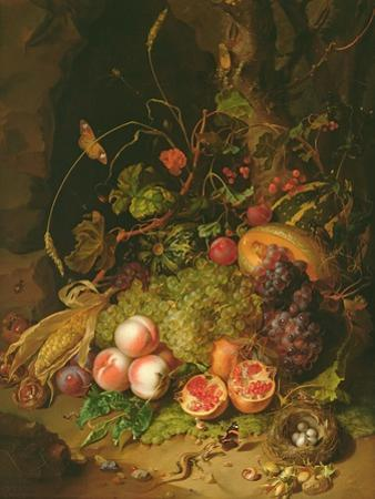 Still Life of Fruit with a Bird's Nest and Insects, 1710
