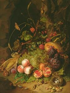 Still Life of Fruit with a Bird's Nest and Insects, 1710 by Rachel Ruysch