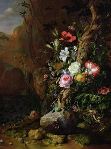 Tree Trunk Surrounded by Flowers, Butterflies and Animals, 1685 by Rachel Ruysch