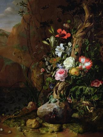 Tree Trunk Surrounded by Flowers, Butterflies and Animals, 1685