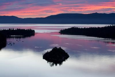 A Silhouette of Fannette Island in Emerarld Bay during a Beautiful Sunrise in Lake Tahoe, Ca.