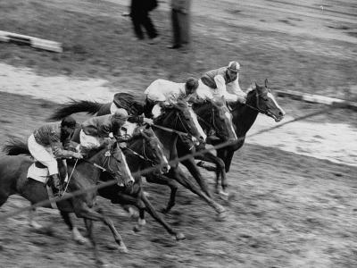 Racing at the Annual Horse Show at Hippodrome Stadium--Photographic Print