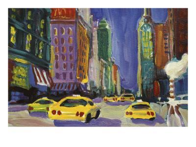 Racing Taxis, New York City-Patti Mollica-Giclee Print