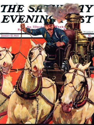 """""""Racing to the Fire,"""" Saturday Evening Post Cover, January 12, 1935-Maurice Bower-Giclee Print"""