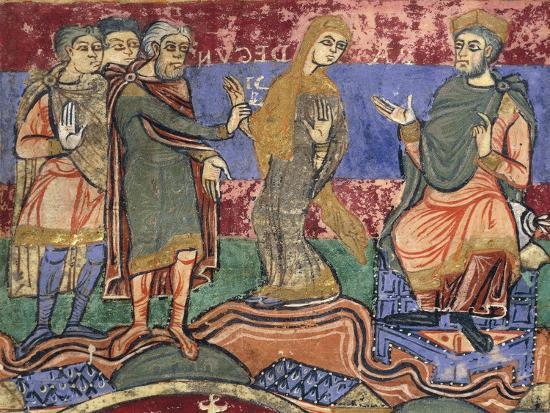 Radegunda Being Conducted by King Chlothar, Miniature from Life of Saint Radegunda, Manuscript--Giclee Print