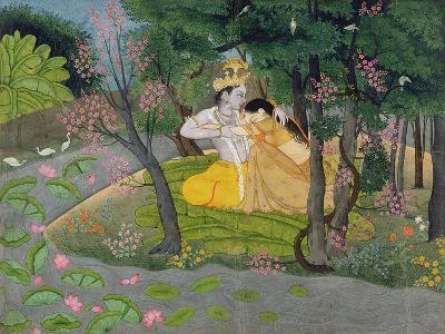 Radha and Krishna Embrace in a Grove of Flowering Trees, c.1780--Giclee Print