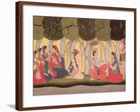 Radha and Krishna Seated in a Grove, Kulu, Himachal Pradesh, Pahari School, 1790-1800--Framed Giclee Print