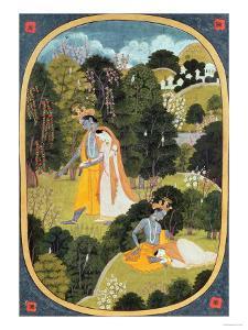 Radha and Krishna Walking in a Grove, Kangra, Himachal Pradesh, 1820-25