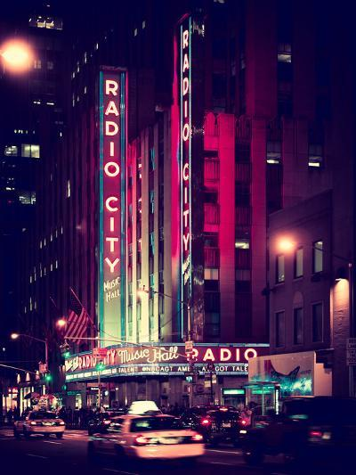 Radio City Music Hall and Yellow Cab by Night, Manhattan, Times Square, NYC, Old Vintage Colors-Philippe Hugonnard-Photographic Print